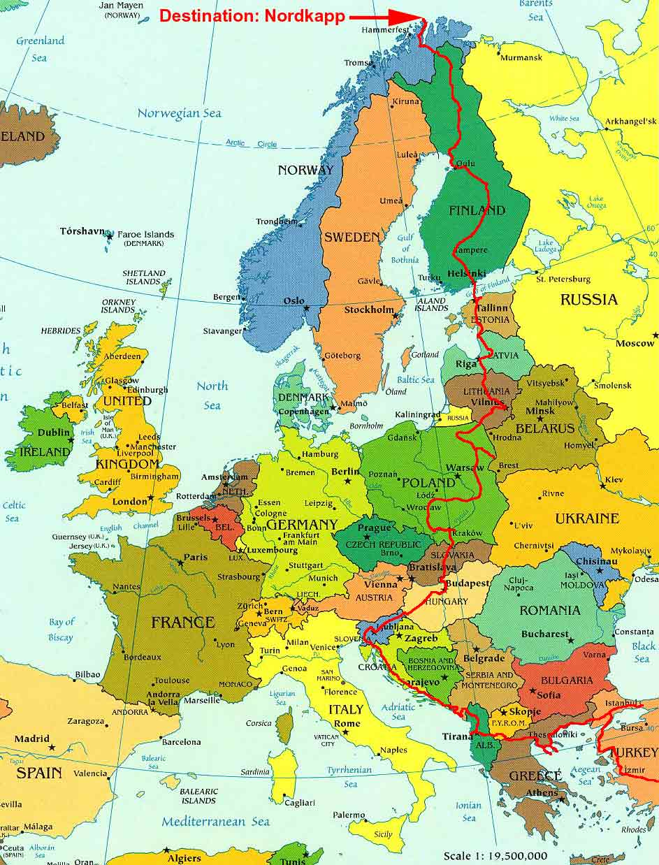 map of journey through europe